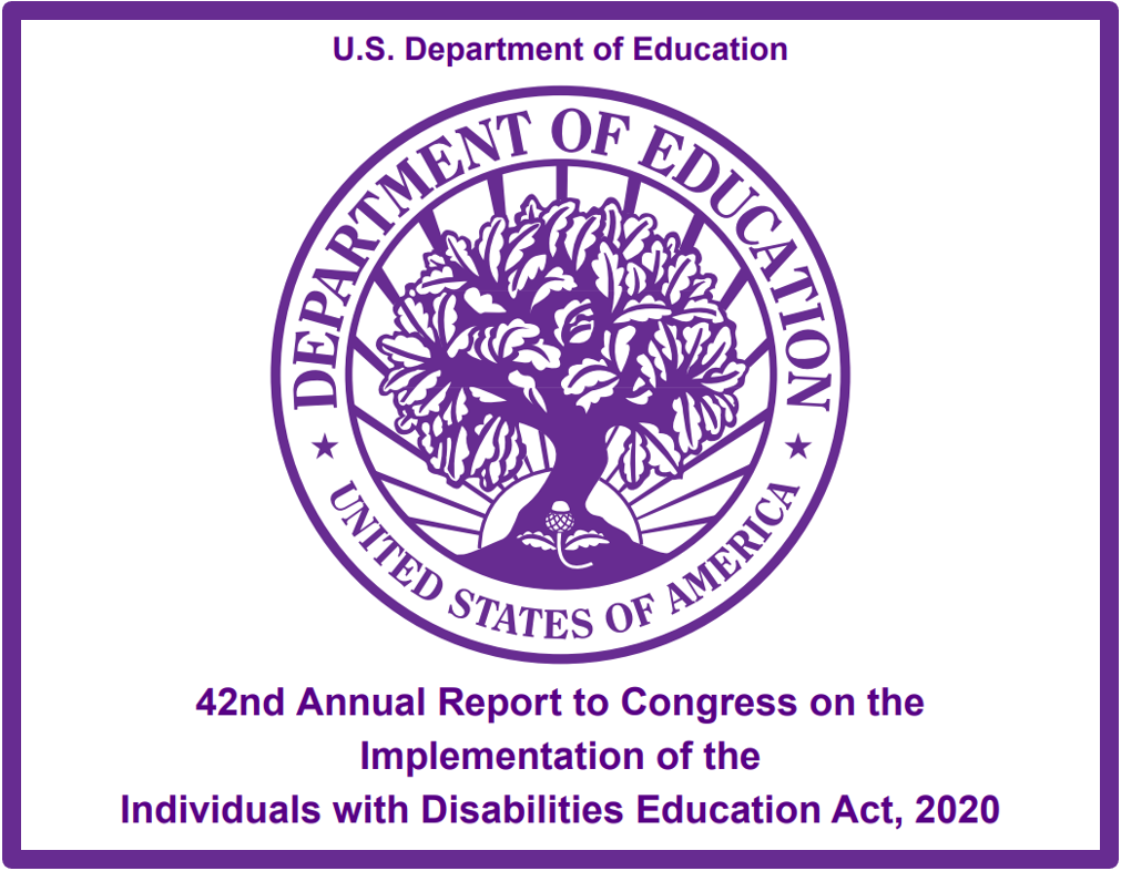 U.S. Department of Education 42nd Annual Report to Congress on the Implementation of the Individuals with Disabilities Education Act, 2020. Image of Department of Education Seal.