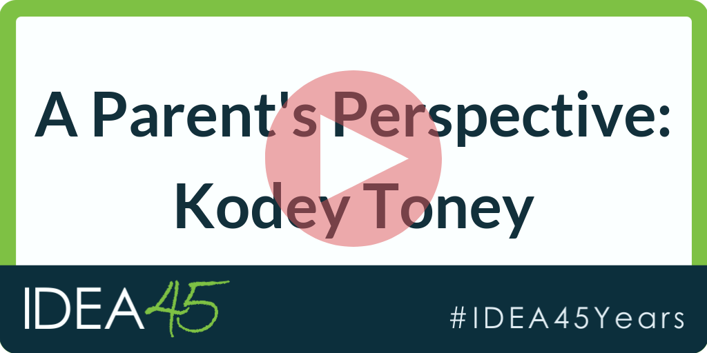 A Parent's Perspective: Kodey Toney. Play button over text
