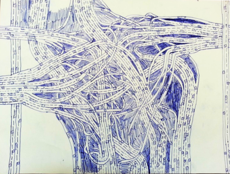 Aren's intricate drawing of a highway interchange.