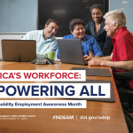 NDEAM 2018 Poster: Man in a wheelchair conversing with co-workers over laptop computers.