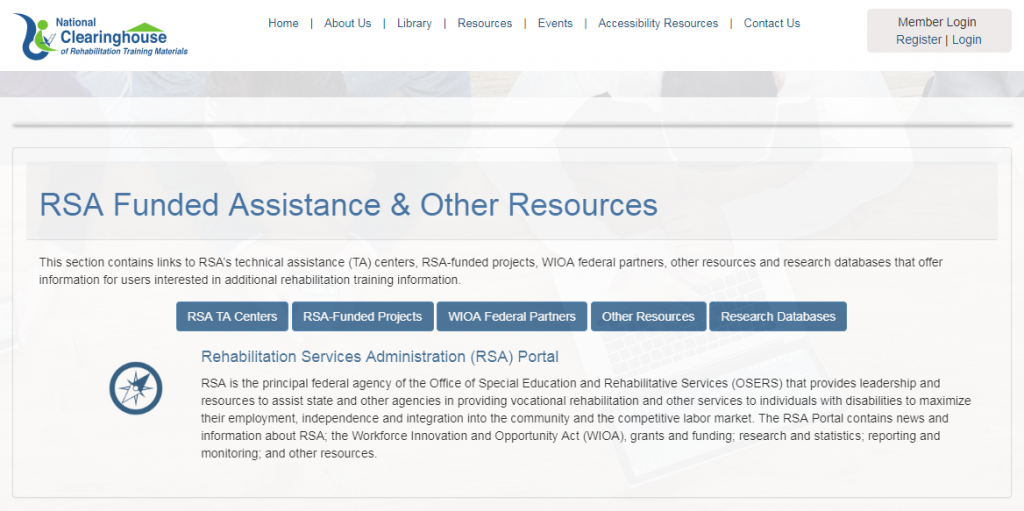 National Clearinghouse of Rehabilitation Training Materials (NCRTM) -- RSA Funded Assistance & Other Resources