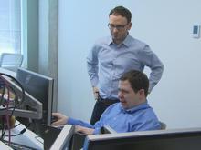 Christopher Pauley working at a computer at Microsoft