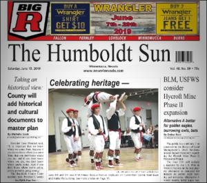 """Dillon's photograph on cover of The Humboldt Sun"""