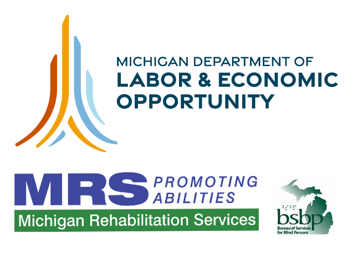 Logos for the Michigan Department of Labor and Economic Opportunity, Rehabilitation Services (MRS), and Bureau of Services for Blind Persons (BSBP)