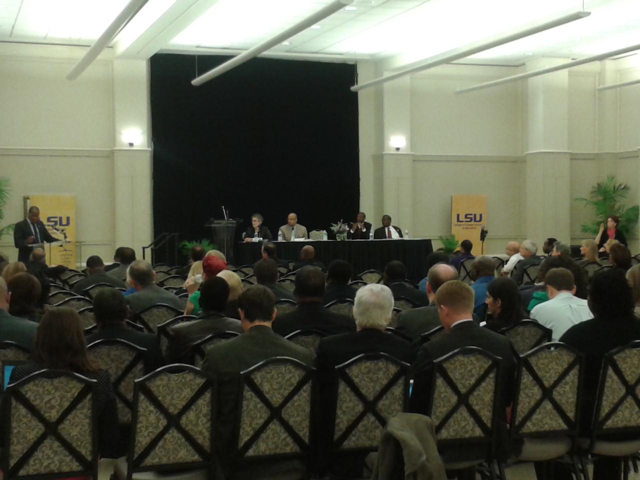 Acting Deputy Secretary of Education Jim Shelton gets feedback during an open forum at Louisiana State University.