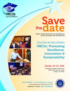 2016 HBCu Week Conference Save the Date, October 23-25, 2016