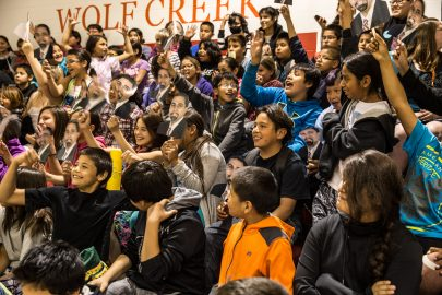 Students from Wolf Creek embrace Secretary King's visit.