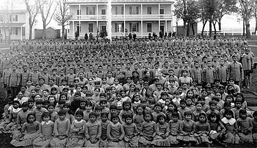 Pupils at Carlisle Indian Industrial School, Pennsylvania, ca. 1900 (Photo courtesy Frontier Forts)